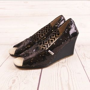 Toms 9 M Black Sequined Open Peep Toe Wedges
